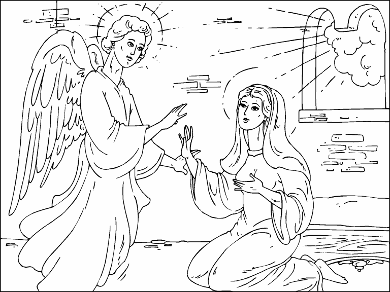 Angel Gabriel visits Mary coloring page - Coloring Pages 4 U