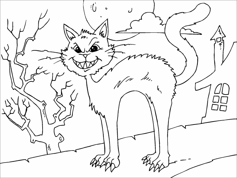 Scary Cat Coloring Page Coloring Pages 4 U
