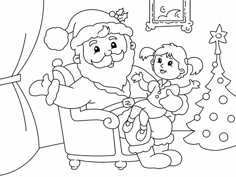 Santa and Girl coloring page - Coloring Pages 4 U