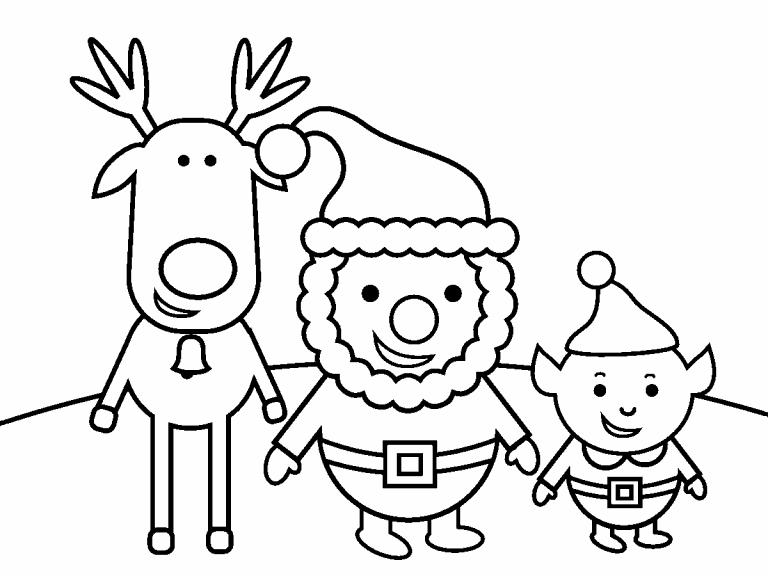 Santa, Rudolf, and Elf coloring page - Coloring Pages 4 U