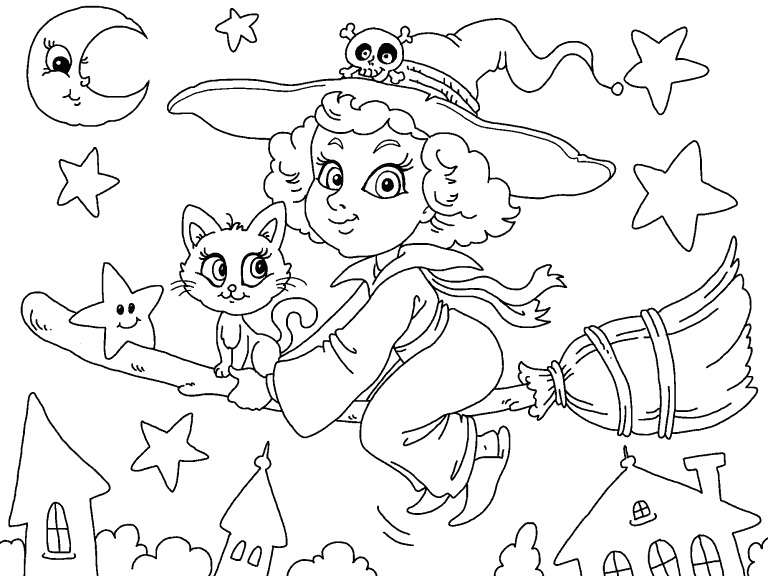 Cute Witch coloring page - Coloring Pages 4 U