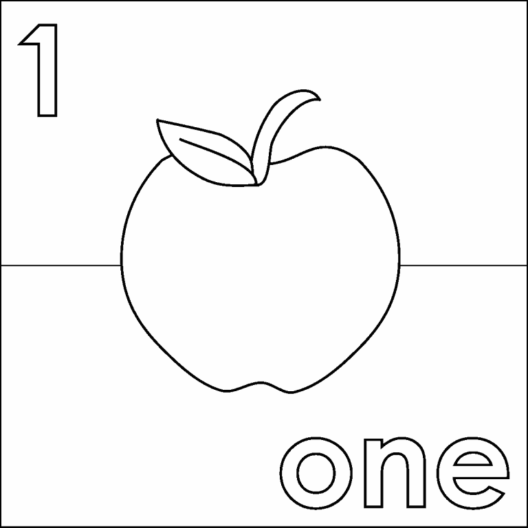 One Apple coloring page - Coloring Pages 4 U