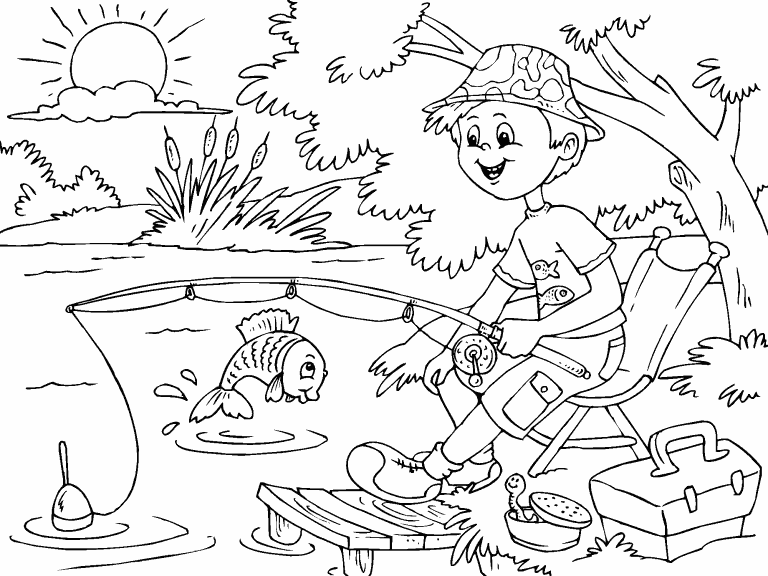 Fishing coloring page - Coloring Pages 4 U